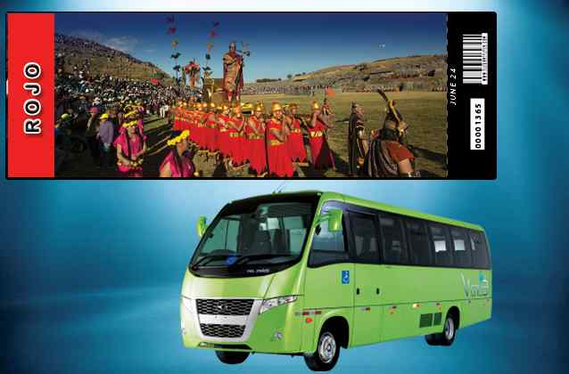 Inti Raymi 2020-ticket. Rode sectie + tourbus